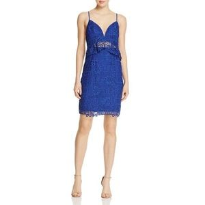 GUESS Womens Blue Embroidered Lace Dress
